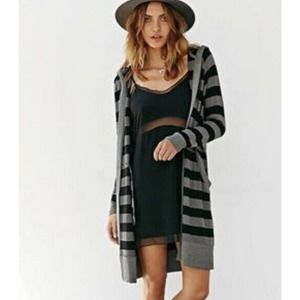 UO Silence + Noise Long Striped Hooded Cardigan M